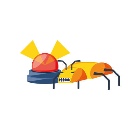 alarm light emergency with insect vector illustration design