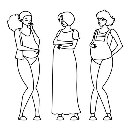 group of beautiful pregnancy women characters vector illustration design Standard-Bild - 134432730