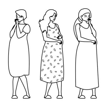 group of beautiful pregnancy women characters vector illustration design Standard-Bild - 134433721