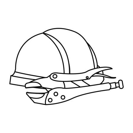 helmet and adjustable wrench labour day vector illustration Foto de archivo - 134436283