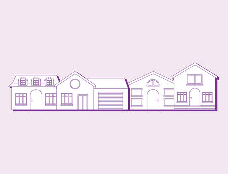 modern houses icon over purple background, colorful line design. vector illustration