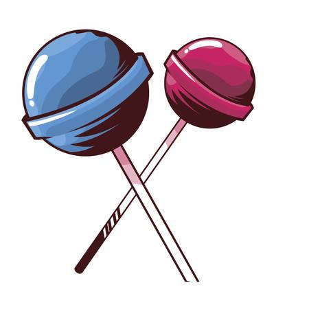 lollipop sweet pop art style vector illustration design