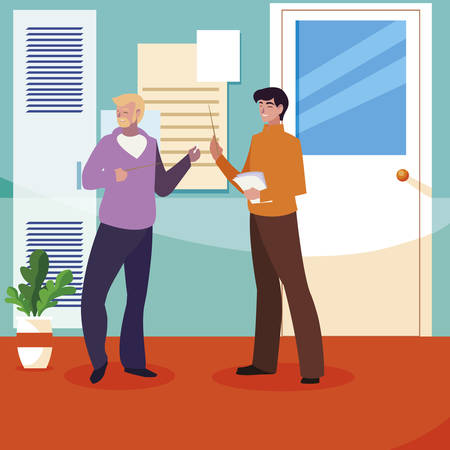 teachers couple in the school corridor vector illustration design Illusztráció