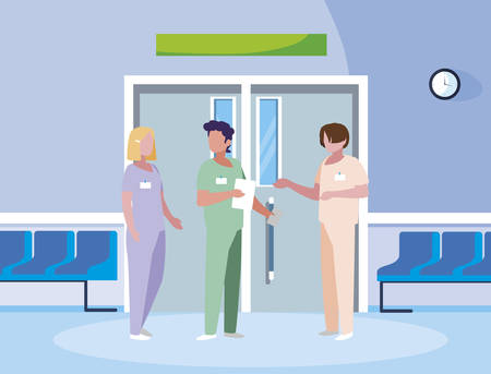 group medicine workers in elevator door vector illustration design Illusztráció