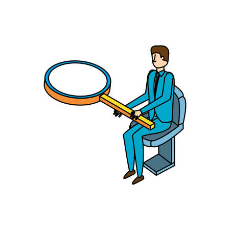 businessman worker with magnifying glass vector illustration design