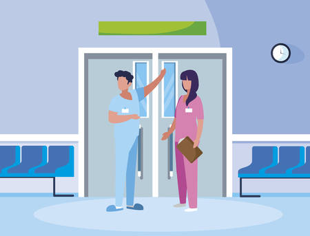 couple medicine workers in elevator door vector illustration design Illusztráció