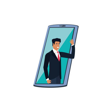 businessman elegant in smartphone device vector illustration design