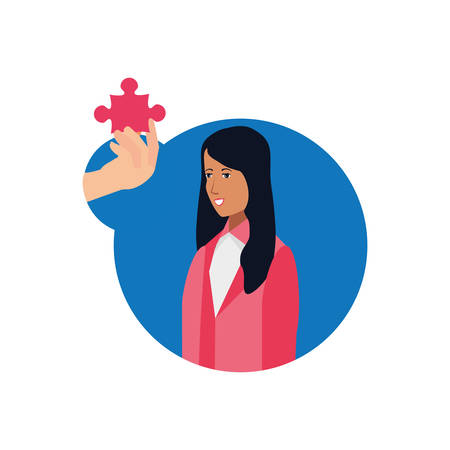 business woman with puzzle piece vector illustration design