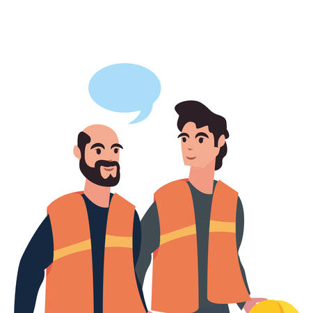 men builders talk labour day vector illustration
