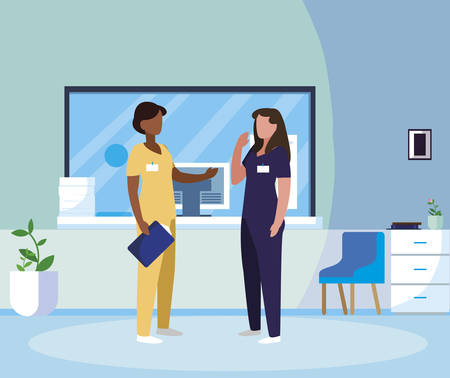 interracial female medicine workers in hospital reception vector illustration design