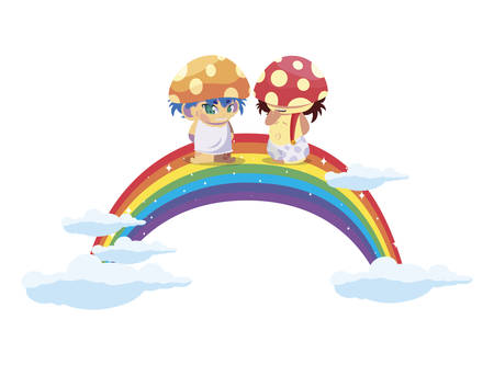 fungus elfs with rainbow magic characters vector illustration design