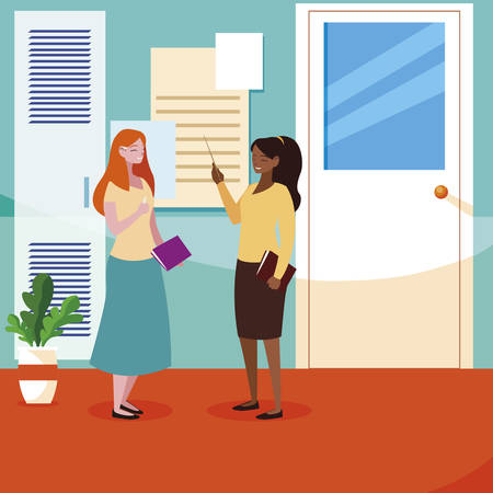 interracial female teachers couple in school corridor vector illustration design 일러스트