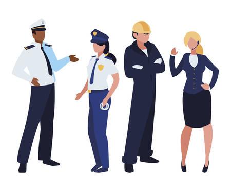 Grupo de trabajadores profesionales, diseño de ilustraciones vectoriales personajes