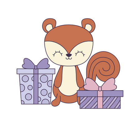 cute chipmunk with gift boxes vector illustration design