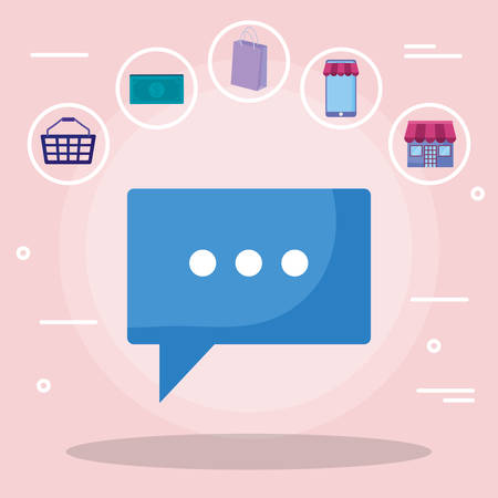 speech bubble message with commercial icons vector illustration design