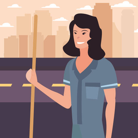street sweeper woman city profession labour day vector illustration Foto de archivo - 134447819