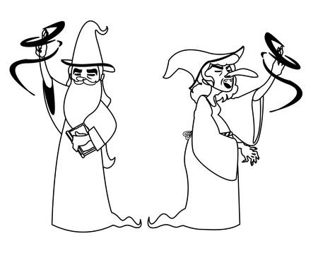 witch and wizard of tales characters vector illustration design