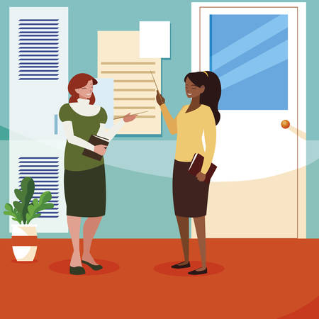 interracial female teachers couple in school corridor vector illustration design Illustration