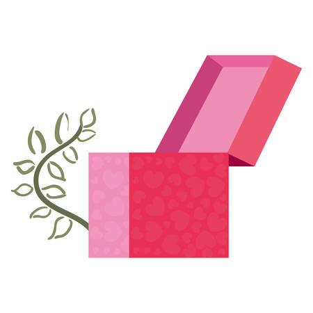 gift box flowers white background vector illustration