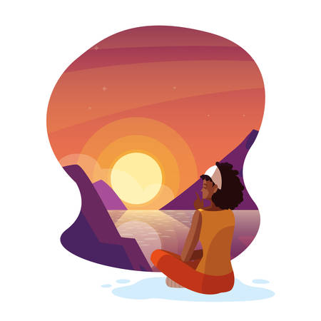 afro woman seated observing sunset landscape with lake vector illustration design