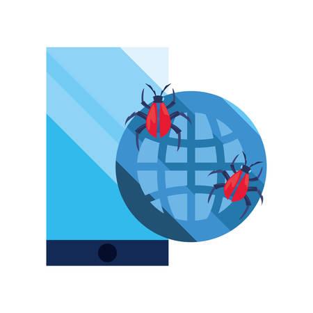 world virus smartphone cybersecurity data protection vector illustration
