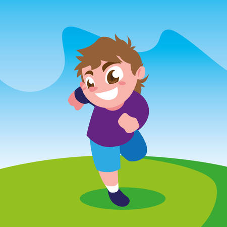 Boy cartoon outside design, Kid childhood little people lifestyle and person theme Vector illustration Illusztráció