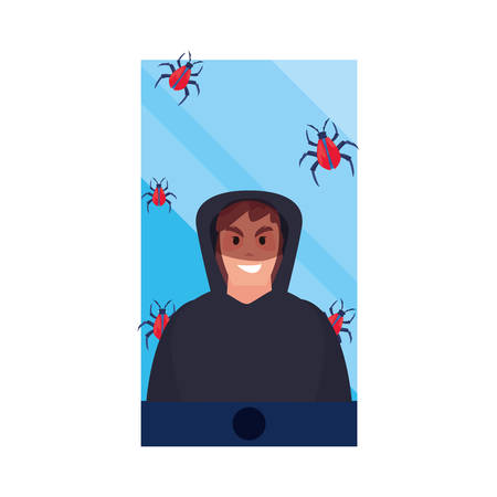 hacker man smartphone virus cybersecurity data protection vector illustration