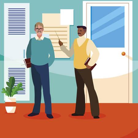 teachers couple in the school corridor vector illustration design  イラスト・ベクター素材