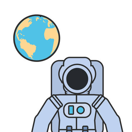 astronaut suit with planet earth vector illustration design