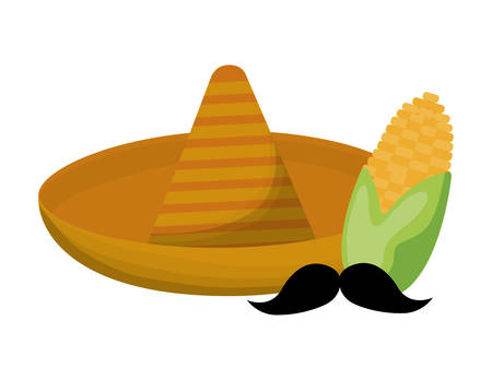 hat mexican with cob corn and moustache vector illustration design