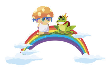 toad prince and fungu elf with rainbow vector illustration design
