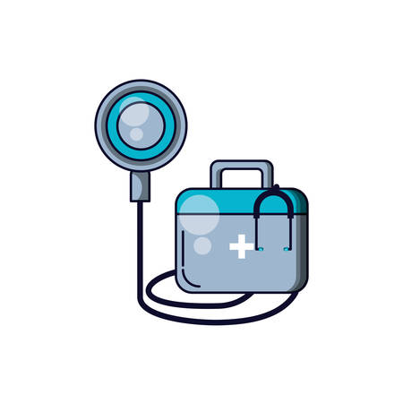 first aid kit with stethoscope medical vector illustration design Zdjęcie Seryjne - 134468112