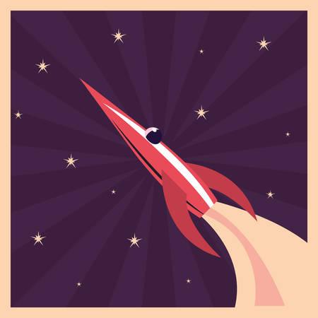 launch rocket explorer space stars vector illustration 向量圖像