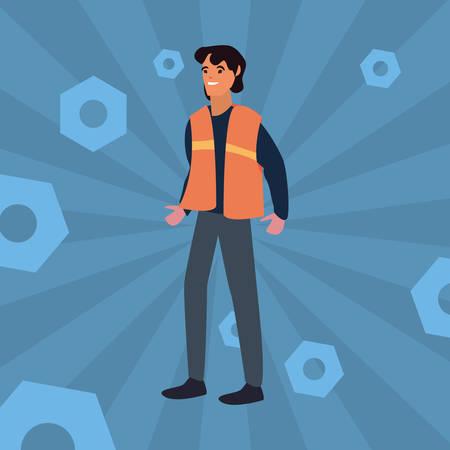 worker employee profession labour day vector illustration Çizim