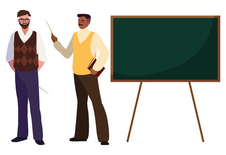 teachers couple with chalkboard characters vector illustration design