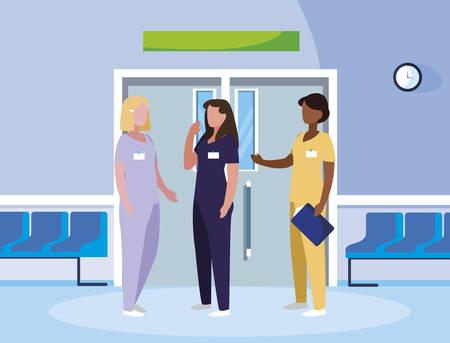 interracial female medicine workers in elevator door vector illustration design
