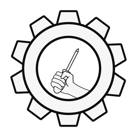 hand with screwdriver tool gear labour day vector illustration