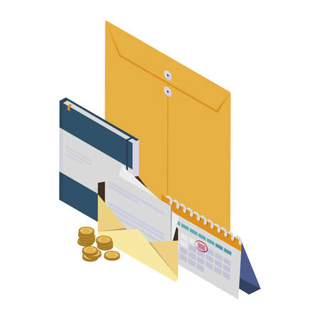 manila envelope with office icons vector illustration design Stock fotó - 134490846