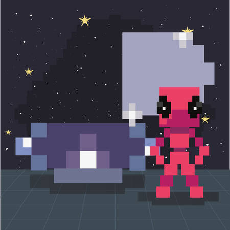invader ufo space pixel video game retro vector illustration Stock fotó - 134490194