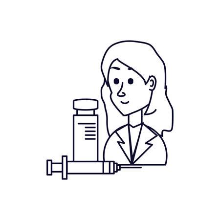 doctor female with injection and bottle of medicine vector illustration design