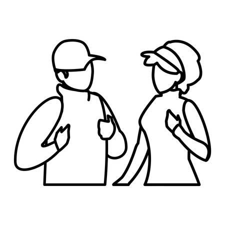 adventurous couple avatar character vector illustration design  イラスト・ベクター素材