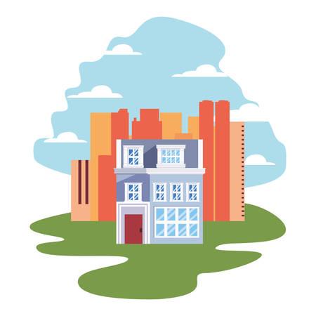 urban buildings city scene street vector illustration Illustration