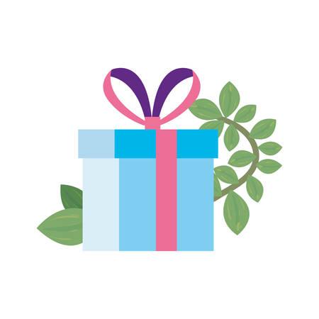 gift box branch floral white background vector illustration