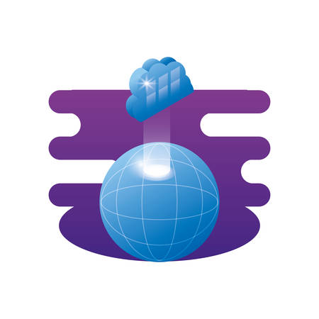 sphere planet browser with cloud computing vector illustration design