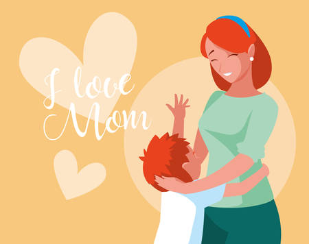 mother with cute son avatar character vector illustration design