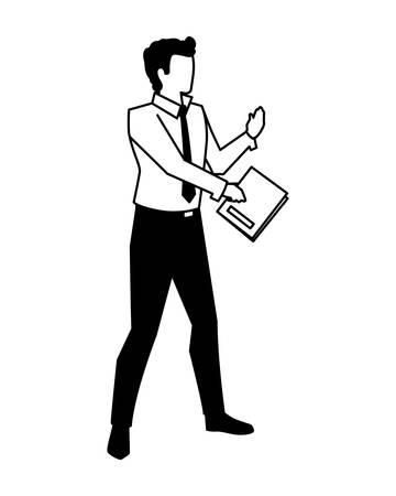 Empresario con libro en mano sobre fondo blanco, diseño de ilustraciones vectoriales Ilustración de vector