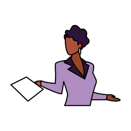 businesswoman faceless on white background vector illustration design