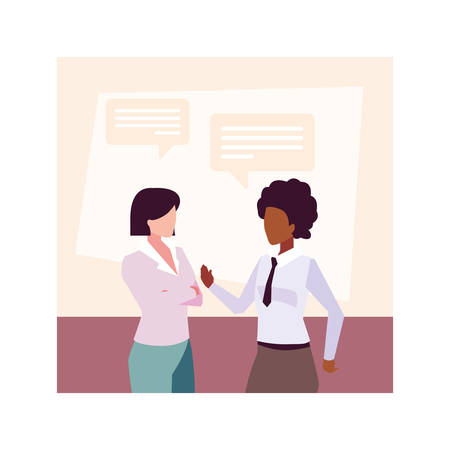 businesswomen in the work office with speech bubble , business professional women vector illustration design