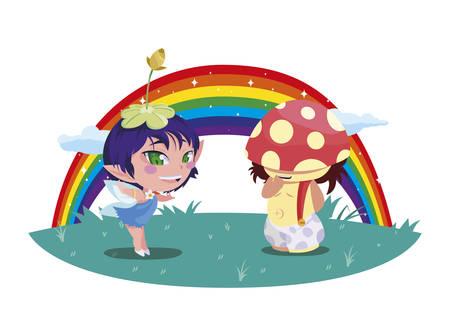 beautiful magic fairy and fungu elf with rainbow scene vector illustration design Foto de archivo - 134546997