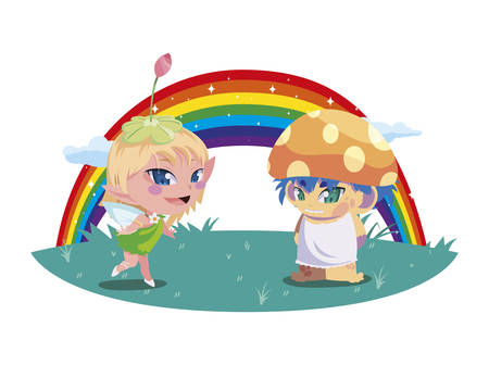beautiful magic fairy and fungu elf with rainbow scene vector illustration design Foto de archivo - 134547014